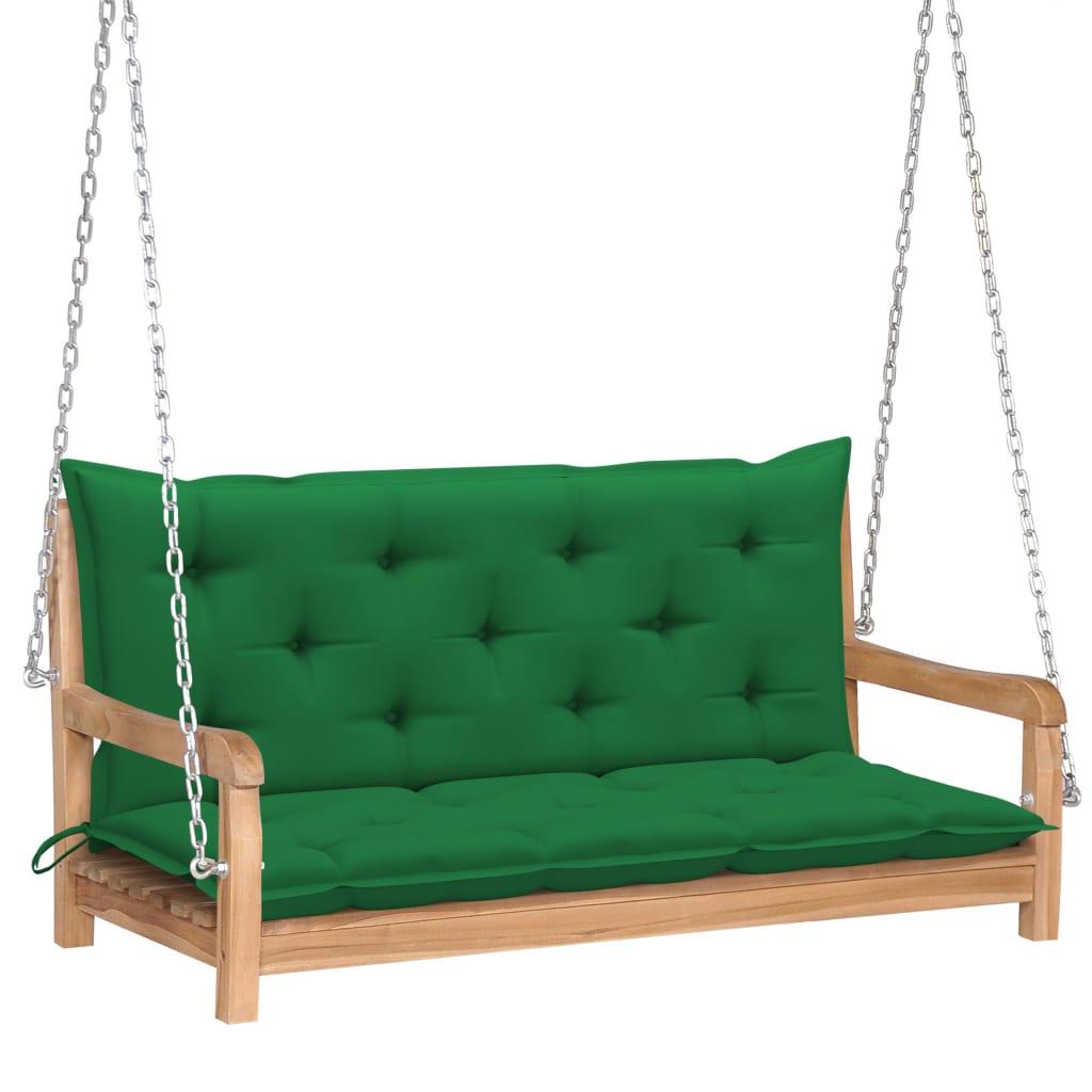 Houpačka se zelenou poduškou 120 cm masivní teak