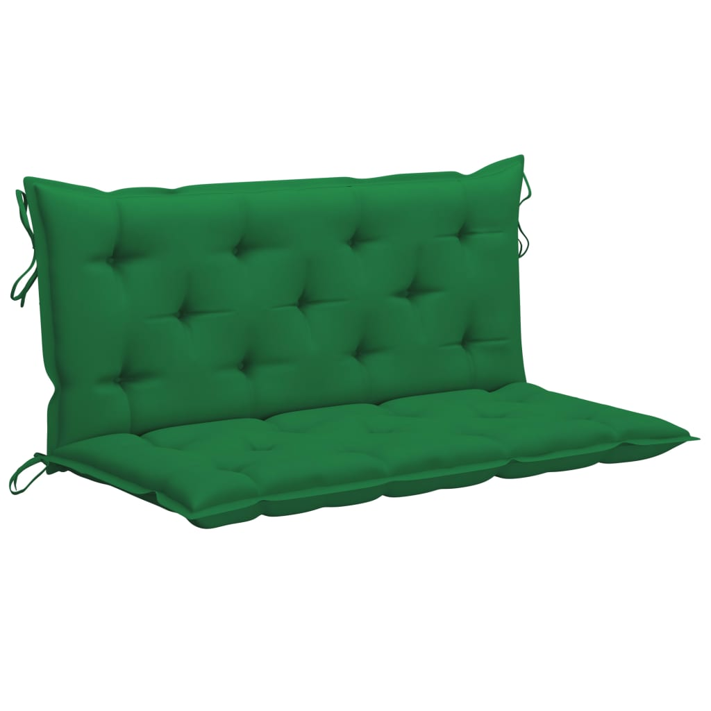 vidaXL Schommelbank met groen kussen 120 cm massief teakhout