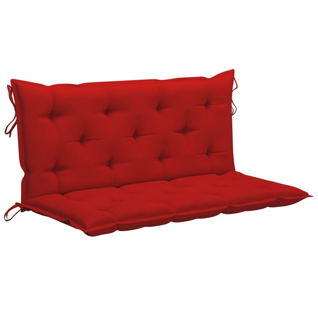 vidaXL Schommelbank met rood kussen 120 cm massief teakhout