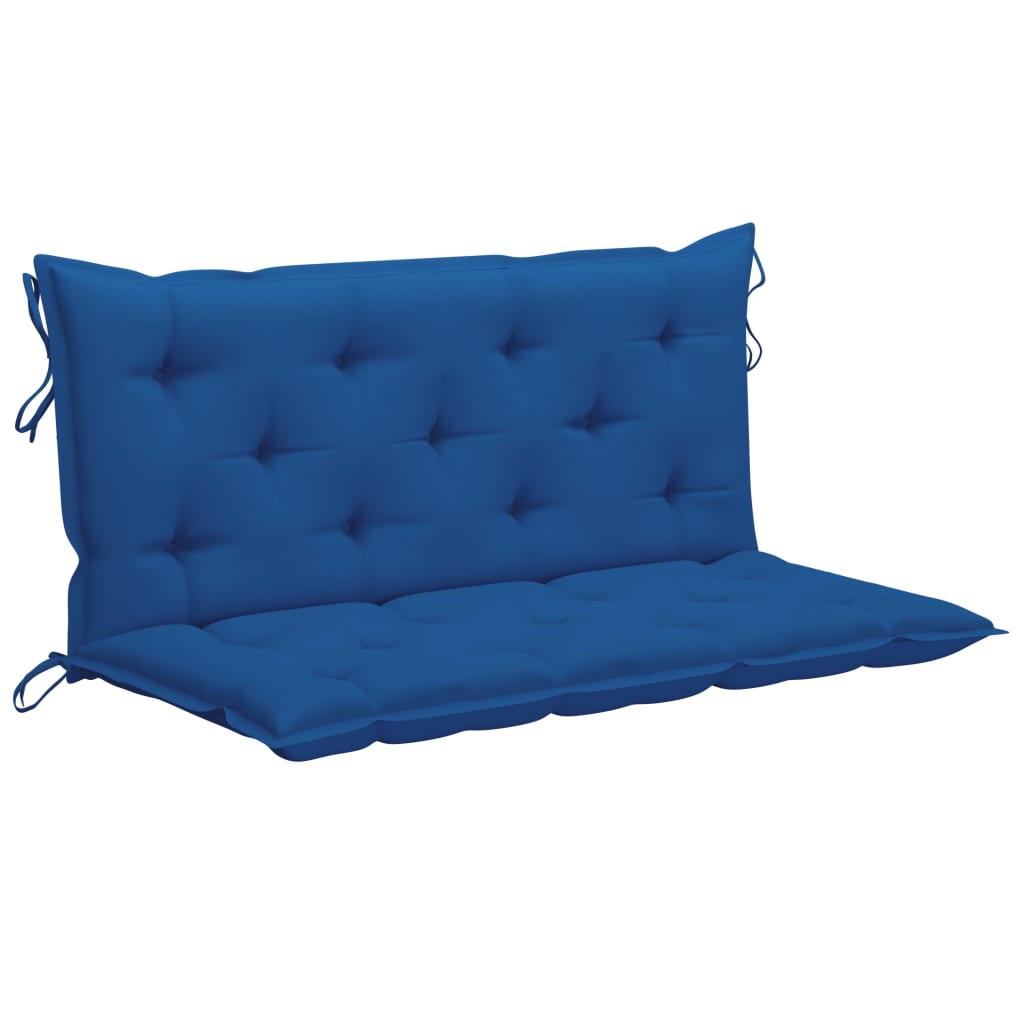 vidaXL Schommelbank met blauw kussen 120 cm massief teakhout
