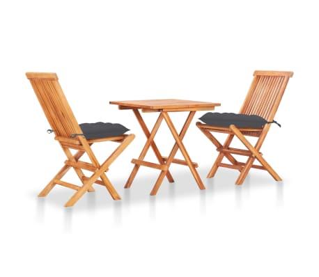 vidaXL 3 Piece Bistro Set with Anthracite Cushions Solid Teak Wood