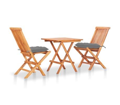 vidaXL 3 Piece Bistro Set with Grey Cushions Solid Teak Wood