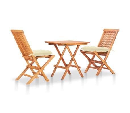 vidaXL 3 Piece Bistro Set with Cream White Cushions Solid Teak Wood