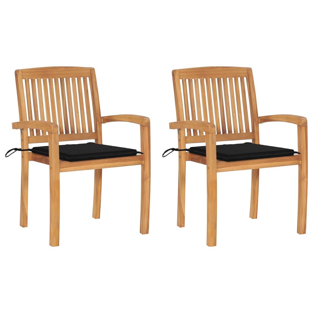 <ul><li>Polsterfarbe: Schwarz</li><li>Material: Fein geschliffenes Teakholz mit Lack auf Wasserbasis</li><li>Kissen-Material: Stoff (100% Polyester)</li><li>Stuhlmaße: 60 x 57,5 x 90 cm (B x T x H)</li><li>Sitzbreite: 39 cm</li><li>Sitztiefe: 48 cm</li><li>Sitzhöhe vom Boden: 45 cm</li><li>Höhe der Armlehnen (vom Boden): 65 cm</li><li>Kissenmaße: 50 x 50 x 4 cm (L x B x T)</li><li>Stapelbar</li><li>Geeignet für den Innen- und Außenbereich</li><li>Witterungsbeständig</li><li>Montage erforderlich: Ja</li><li><strong>Lieferung enthält:</strong></li><li>2 x Stühle</li><li>2 x Polster</li></ul>