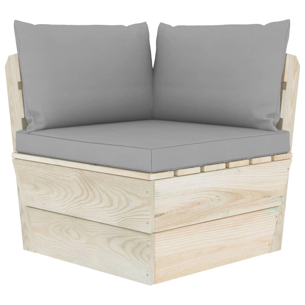 vidaXL Canapea de grădină din paleți, colțar, cu perne, lemn molid poza vidaxl.ro