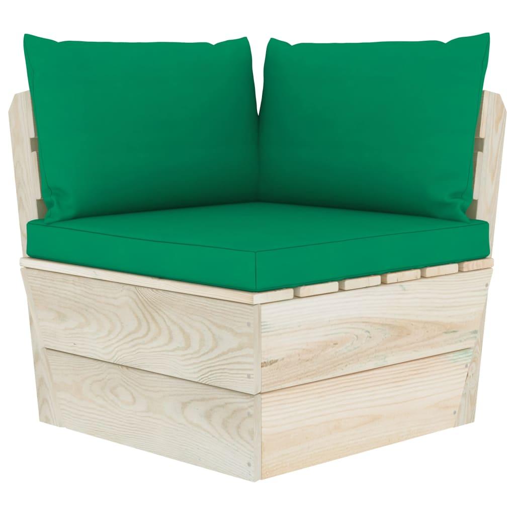 vidaXL Canapea de grădină din paleți, colțar, cu perne, lemn molid imagine vidaxl.ro
