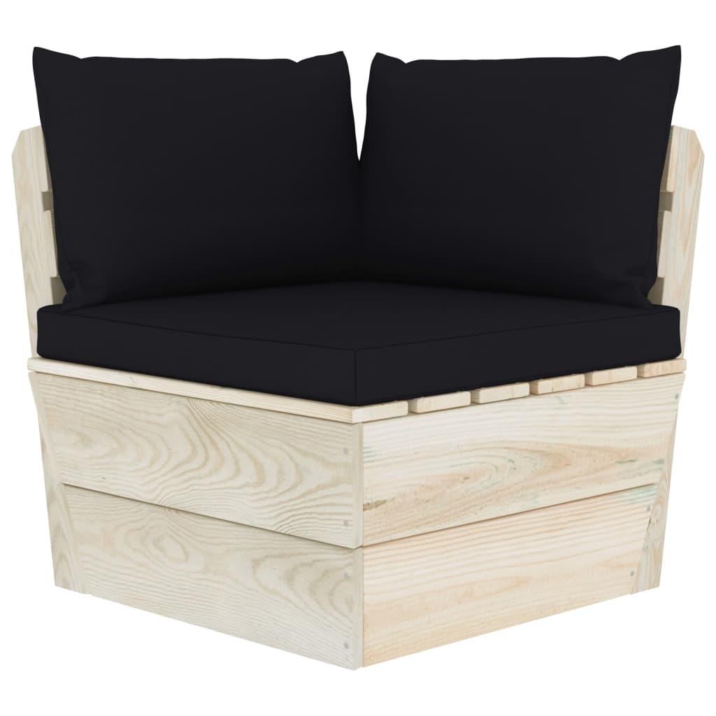 vidaXL Canapea de grădină din paleți, colțar, cu perne, lemn molid vidaxl.ro