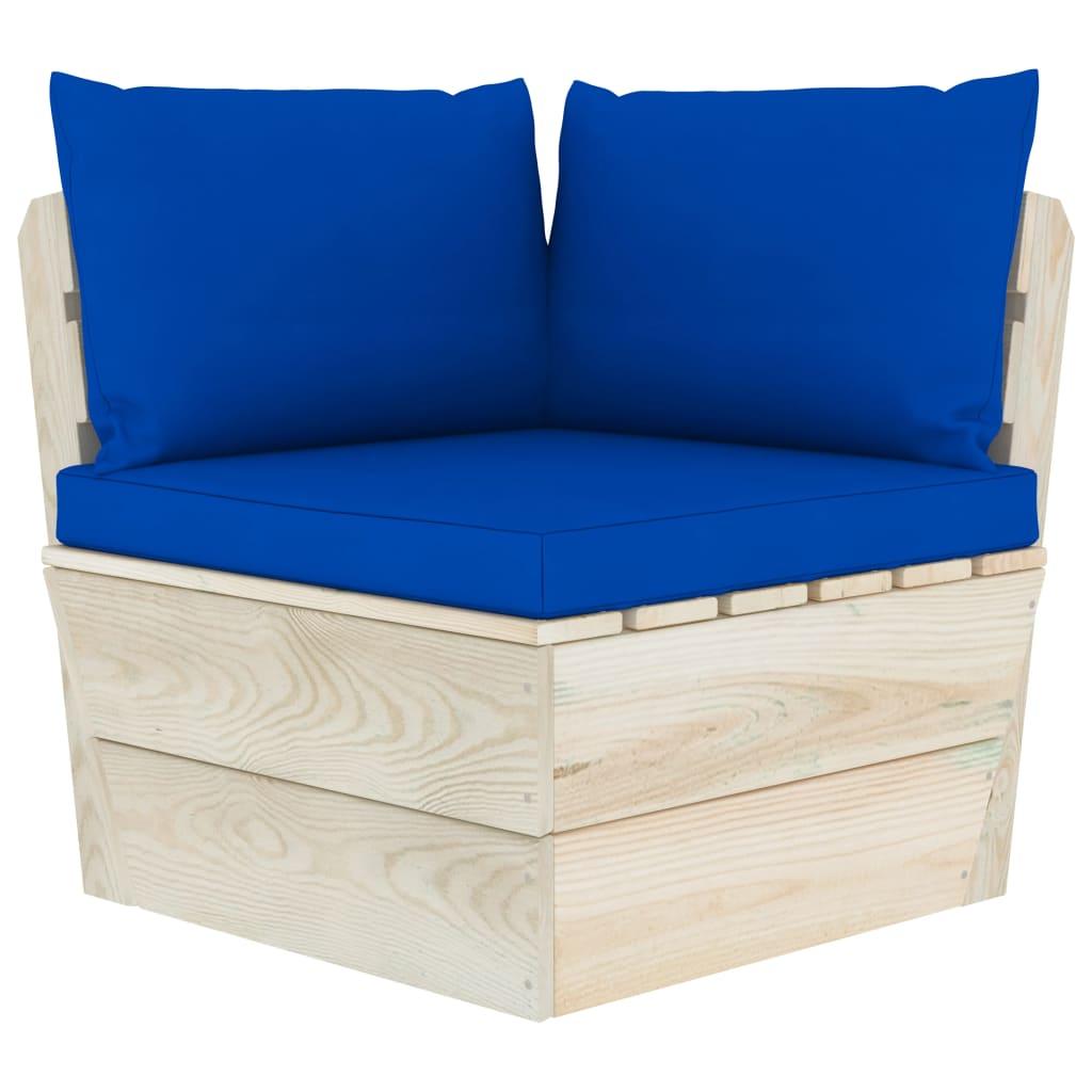 vidaXL Canapea de grădină din paleți, colțar, cu perne, lemn molid poza 2021 vidaXL