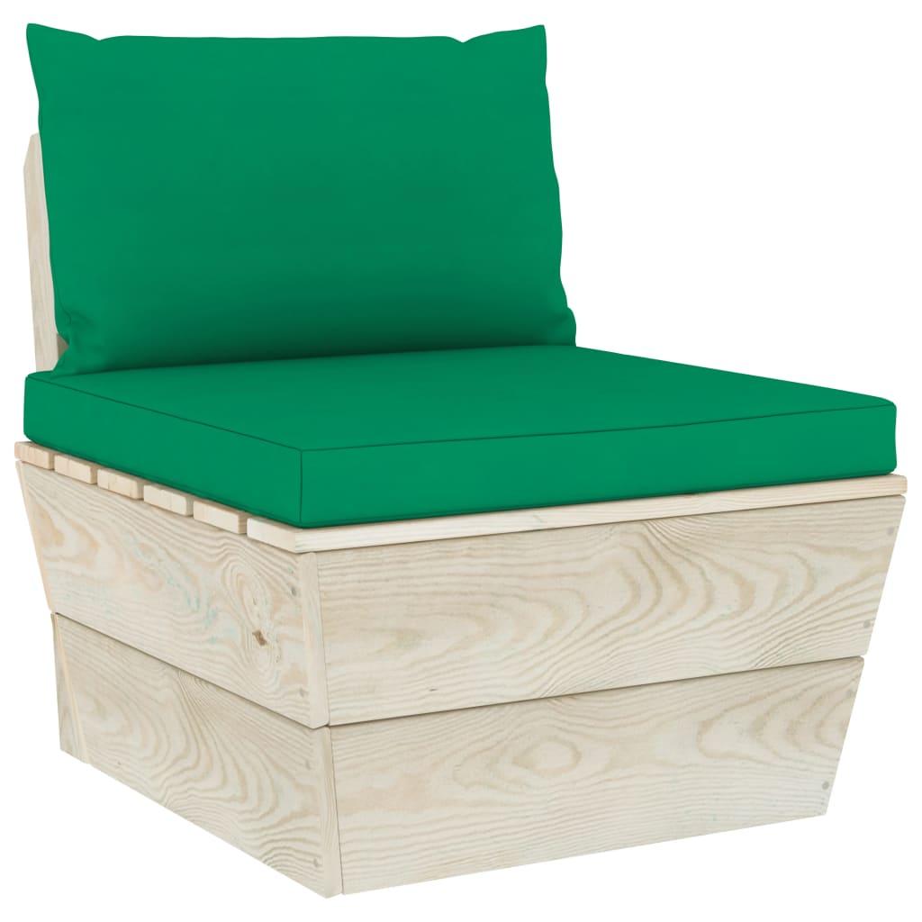 vidaXL Canapea de grădină din paleți, de mijloc, cu perne, lemn molid vidaxl.ro