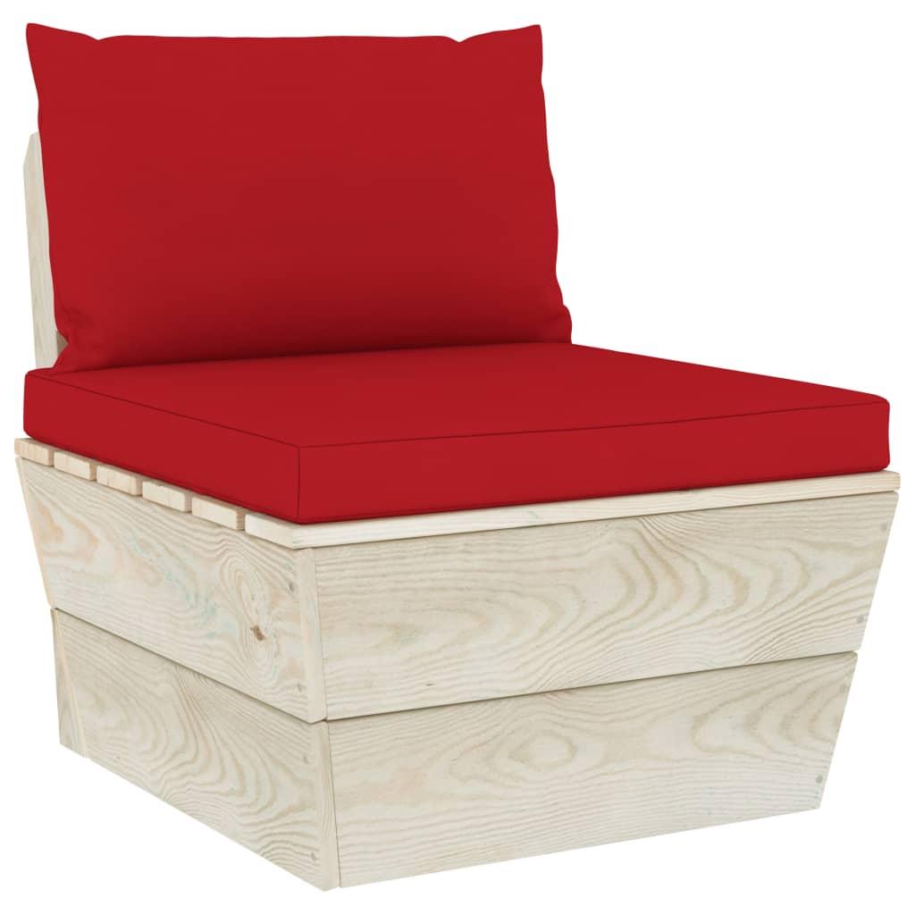 vidaXL Canapea de mijloc paleți de grădină cu perne, lemn molid tratat vidaxl.ro