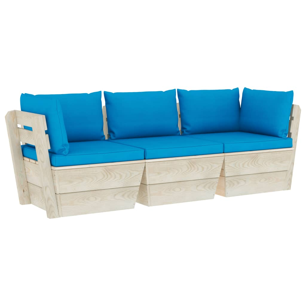 vidaXL Canapea de grădină din paleți, 3 locuri, cu perne, lemn molid poza 2021 vidaXL