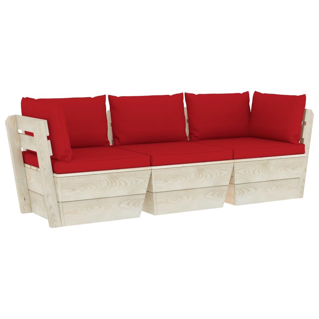 vidaXL Canapea de grădină din paleți, 3 locuri, cu perne, lemn molid imagine vidaxl.ro