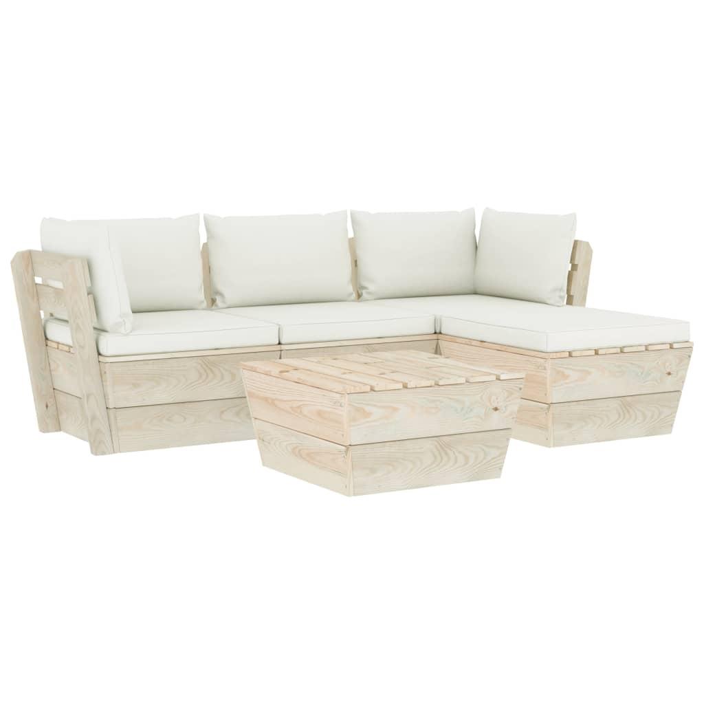vidaXL Set mobilier grădină din paleți cu perne, 5 piese, lemn molid imagine vidaxl.ro