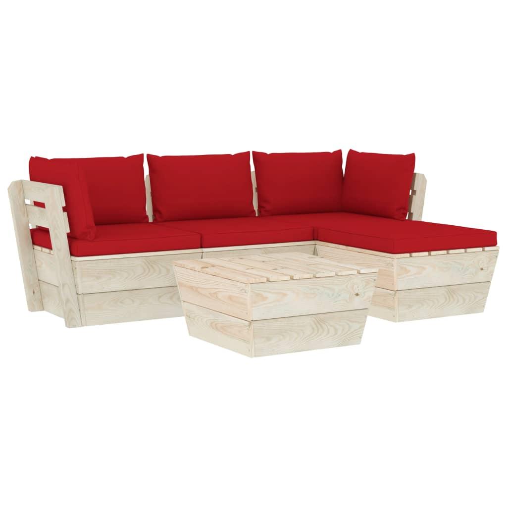 vidaXL Set mobilier grădină din paleți cu perne, 5 piese, lemn molid vidaxl.ro