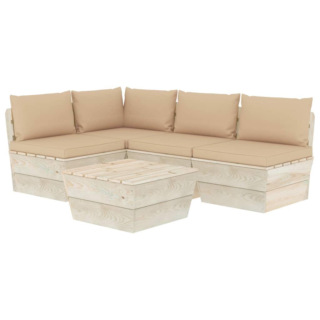 <ul><li>Kissenfarbe: Beige</li><li>Material: Imprägniertes Fichtenholz, Stoff (100 % Polyester)</li><li>Abmessungen des Mittel-/Ecksofas: 60 x 60 x 65 cm (B x T x H)</li><li>Tischmaße: 60 x 60 x 30 cm (B x T x H)</li><li>Sitzhöhe vom Boden: 30 cm</li><li>Sitzpolster-Maße: 60 x 60 x 6 cm (B x T x H)</li><li>Rückenpolster-Maße: 60 x 38 x 13 cm (B x T x H)</li><li>Seitenkissen-Maße: 55,5 x 38 x 13 cm (B x T x H)</li><li>Montage erforderlich: Ja</li><li><strong>Lieferung enthält:</strong></li><li>3 x Sofa-Mittelteil</li><li>1 x Sofa-Eckteil</li><li>1 x Tisch</li><li>4 x Sitzkissen</li><li>5 x Rücken- / Seitenkissen</li></ul>