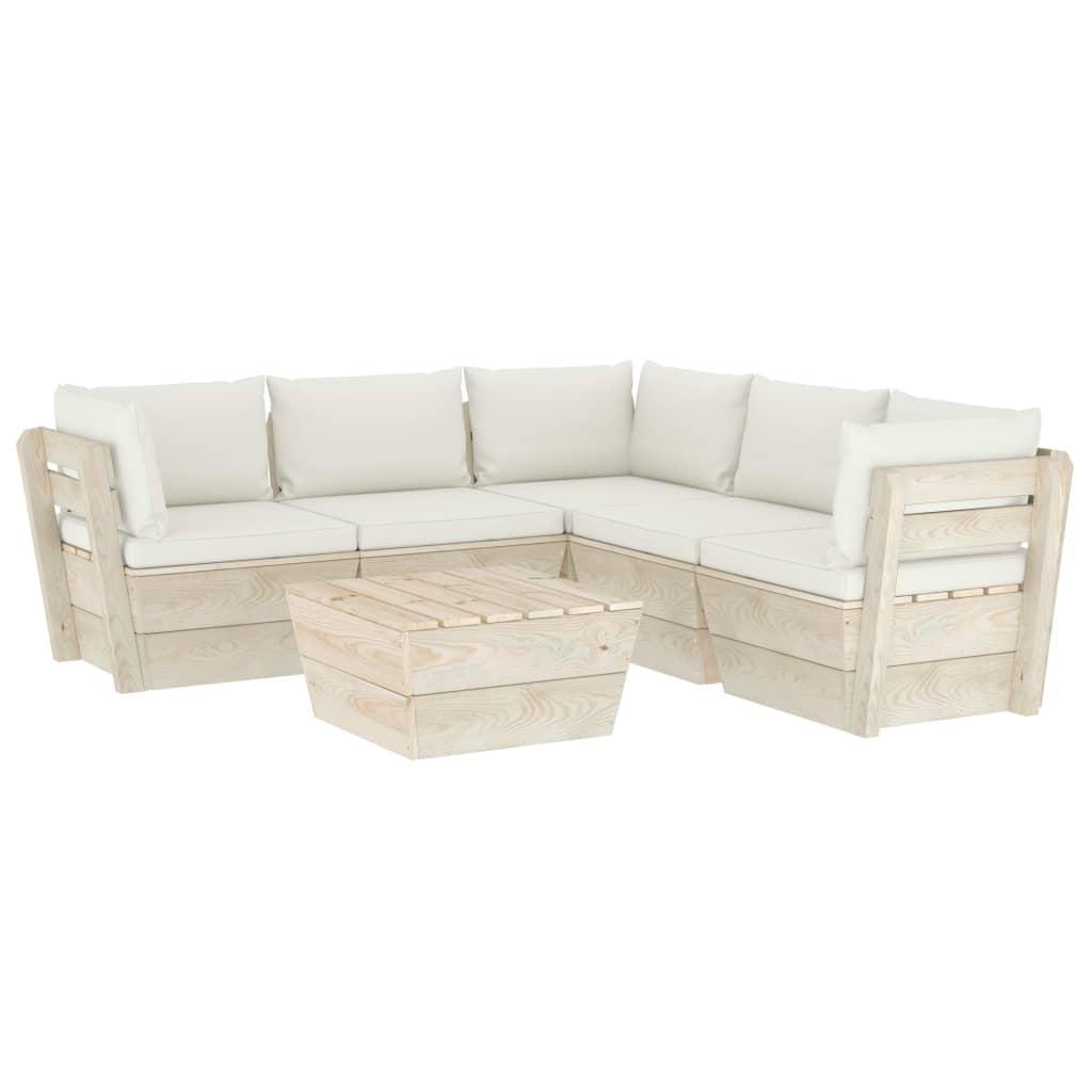 vidaXL Set mobilier grădină din paleți cu perne, 6 piese, lemn molid poza vidaxl.ro