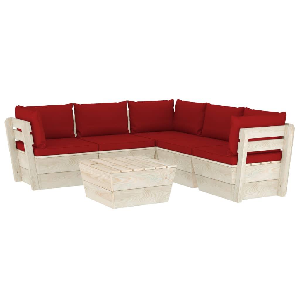 <ul><li>Kissenfarbe: Weinrot</li><li>Material: Imprägniertes Fichtenholz, Stoff (100 % Polyester)</li><li>Abmessungen des Mittel-/Ecksofas: 60 x 60 x 65 cm (B x T x H)</li><li>Tischmaße: 60 x 60 x 30 cm (B x T x H)</li><li>Sitzhöhe vom Boden: 30 cm</li><li>Sitzpolster-Maße: 60 x 60 x 6 cm (B x T x H)</li><li>Rückenpolster-Maße: 60 x 38 x 13 cm (B x T x H)</li><li>Seitenkissen-Maße: 55,5 x 38 x 13 cm (B x T x H)</li><li>Montage erforderlich: Ja</li><li><strong>Lieferung enthält:</strong></li><li>2 x Sofa-Mittelteil</li><li>3 x Sofa-Eckteil</li><li>1 x Tisch</li><li>5 x Sitzpolster</li><li>8 x Rücken-/Seitenkissen</li></ul>