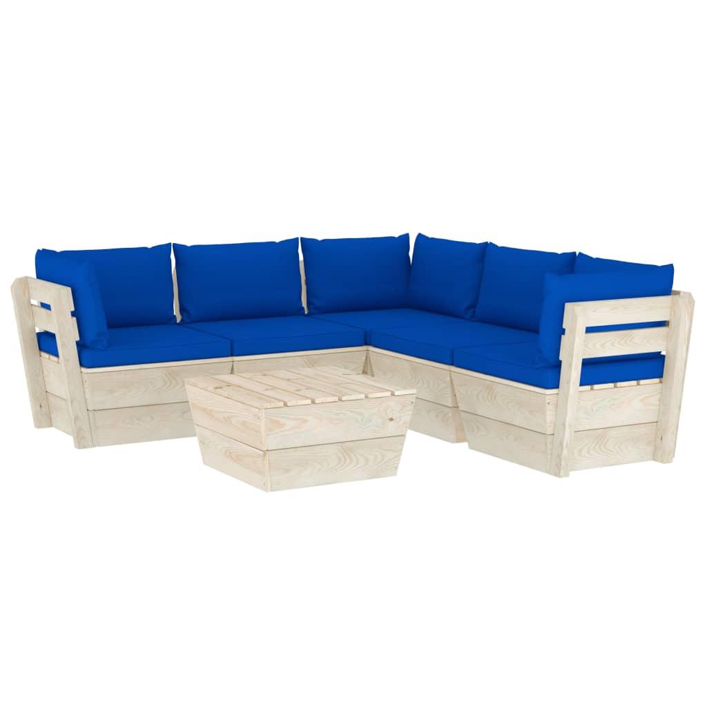 vidaXL Set mobilier grădină din paleți cu perne, 6 piese, lemn molid poza 2021 vidaXL