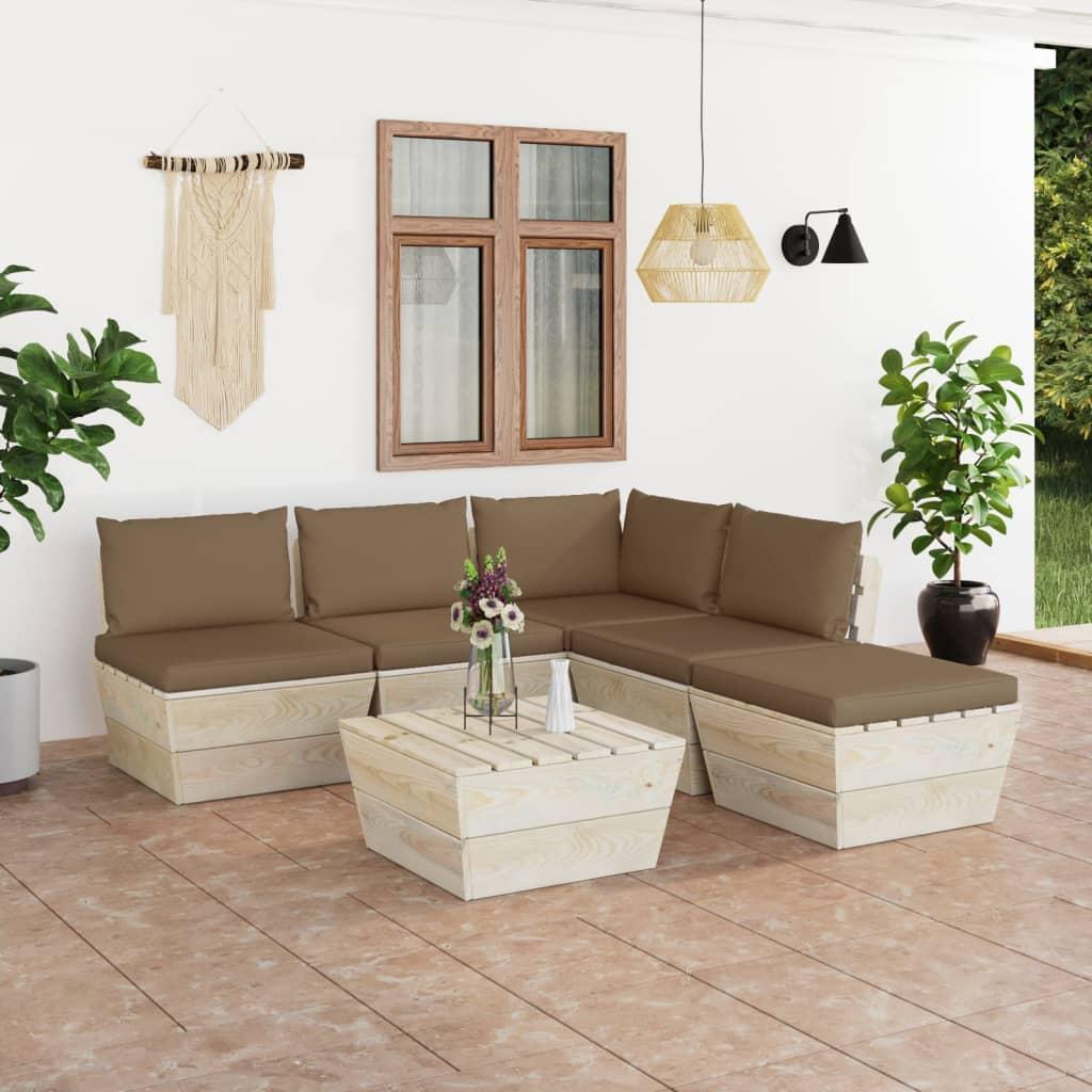 vidaXL Set mobilier grădină din paleți cu perne, 6 piese, lemn molid vidaxl.ro