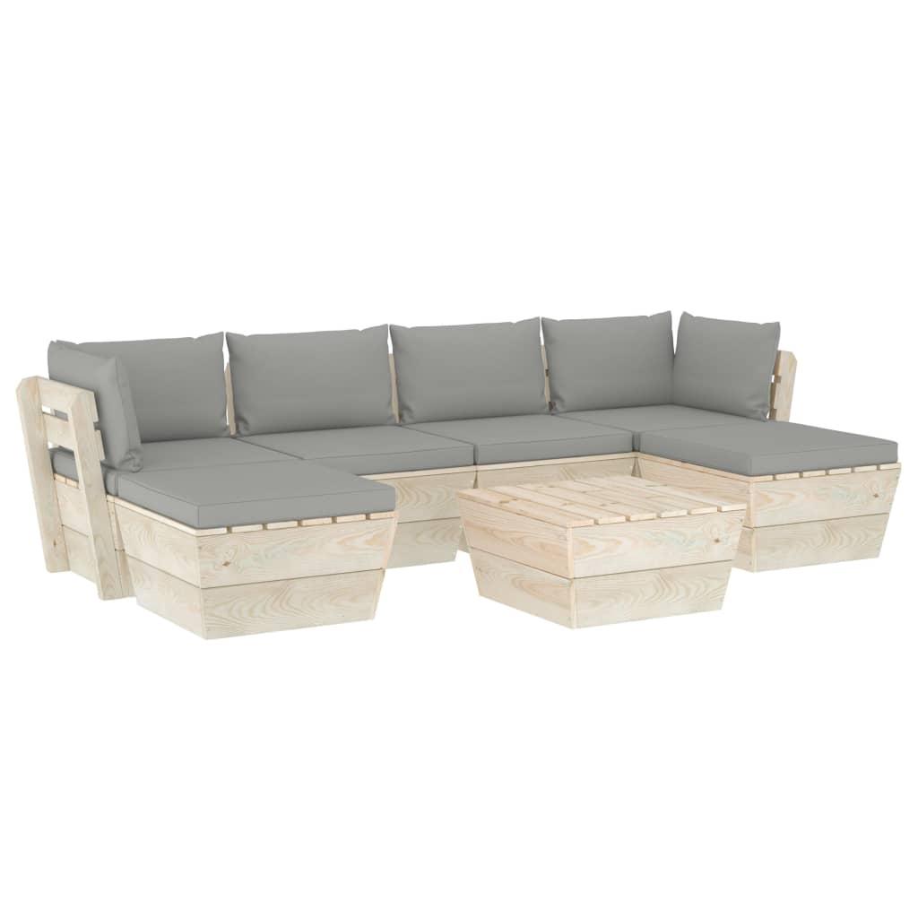 vidaXL Set mobilier grădină din paleți cu perne, 7 piese, lemn molid vidaxl.ro