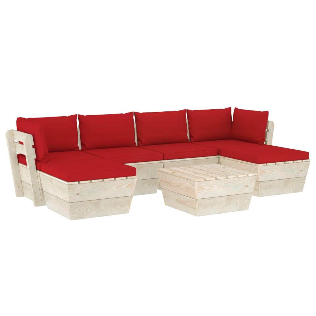 vidaXL Set mobilier grădină din paleți cu perne, 7 piese, lemn molid imagine vidaxl.ro