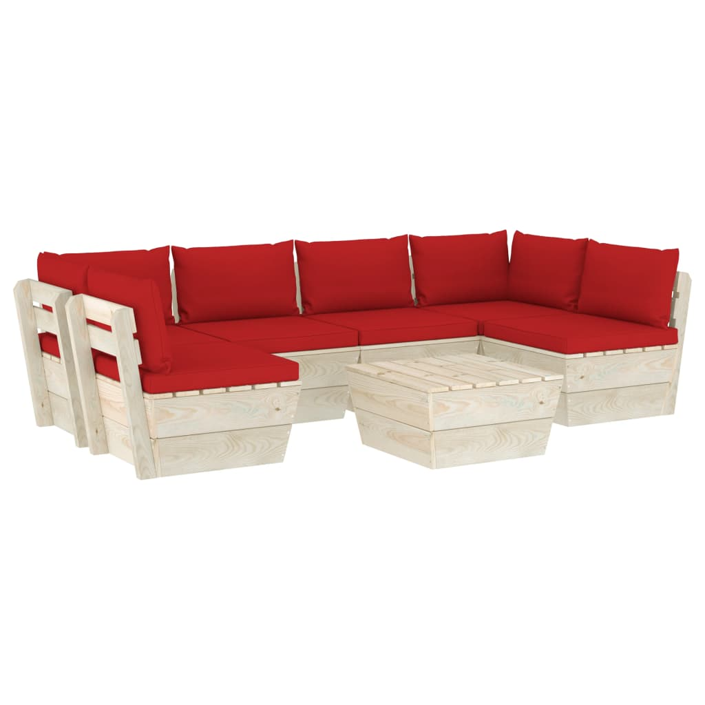 vidaXL Set mobilier grădină din paleți, 7 piese, cu perne, lemn molid imagine vidaxl.ro