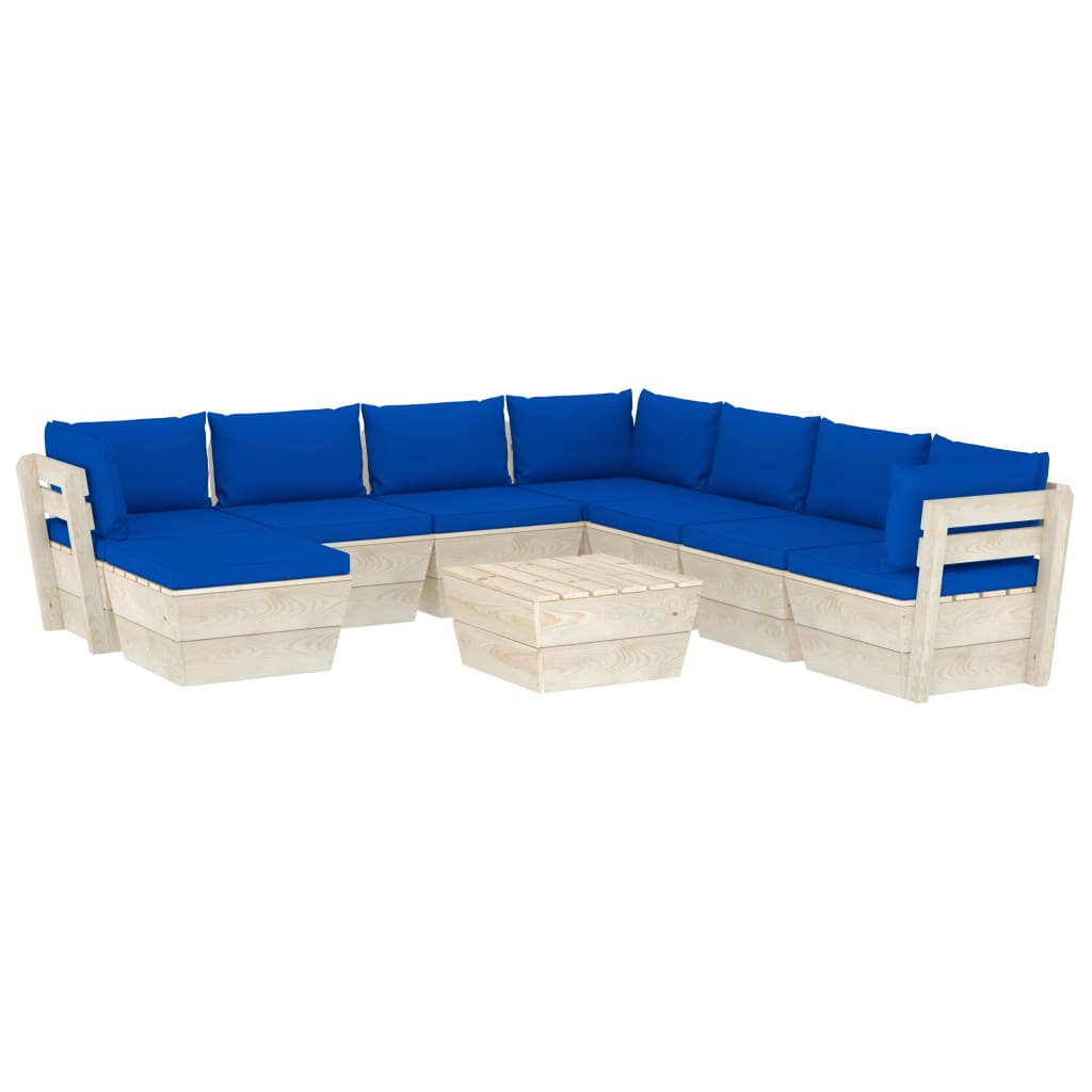 vidaXL Set mobilier grădină din paleți cu perne, 9 piese, lemn molid poza vidaxl.ro