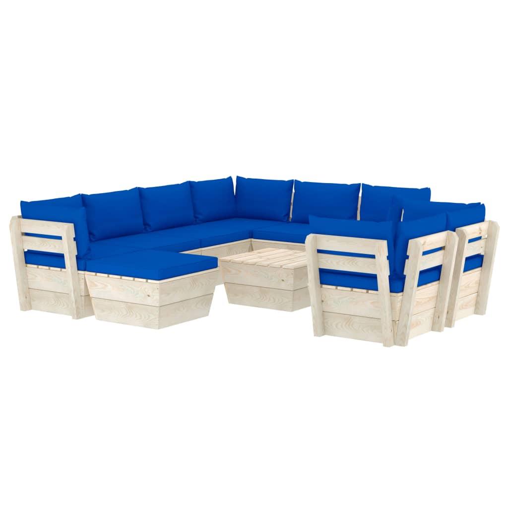 10-tlg. Garten-Sofagarnitur aus Paletten mit Kissen Fichtenholz