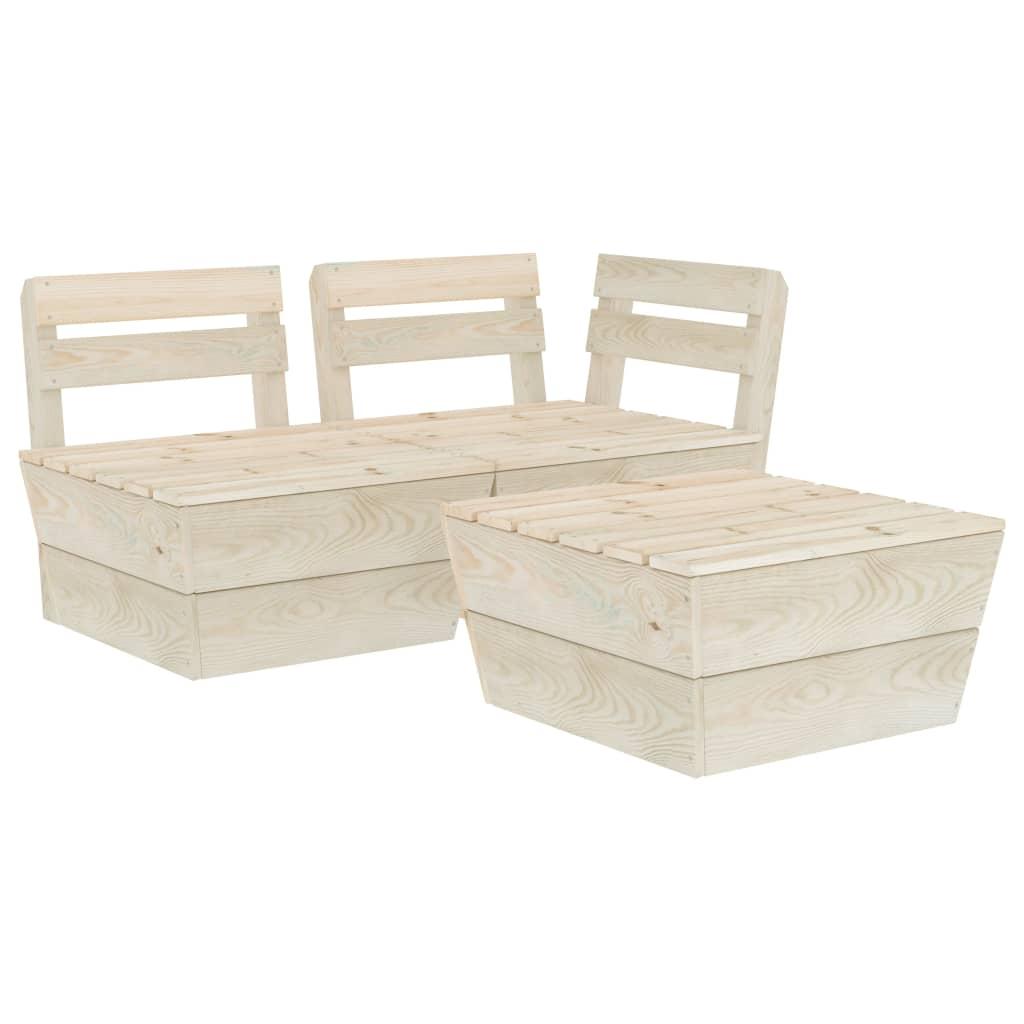 vidaXL Set mobilier de grădină paleți, 3 piese, lemn de molid tratat poza 2021 vidaXL