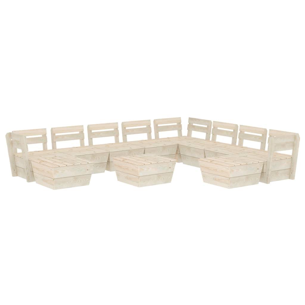vidaXL Set mobilier de grădină din paleți, 11 piese, lemn molid tratat vidaxl.ro