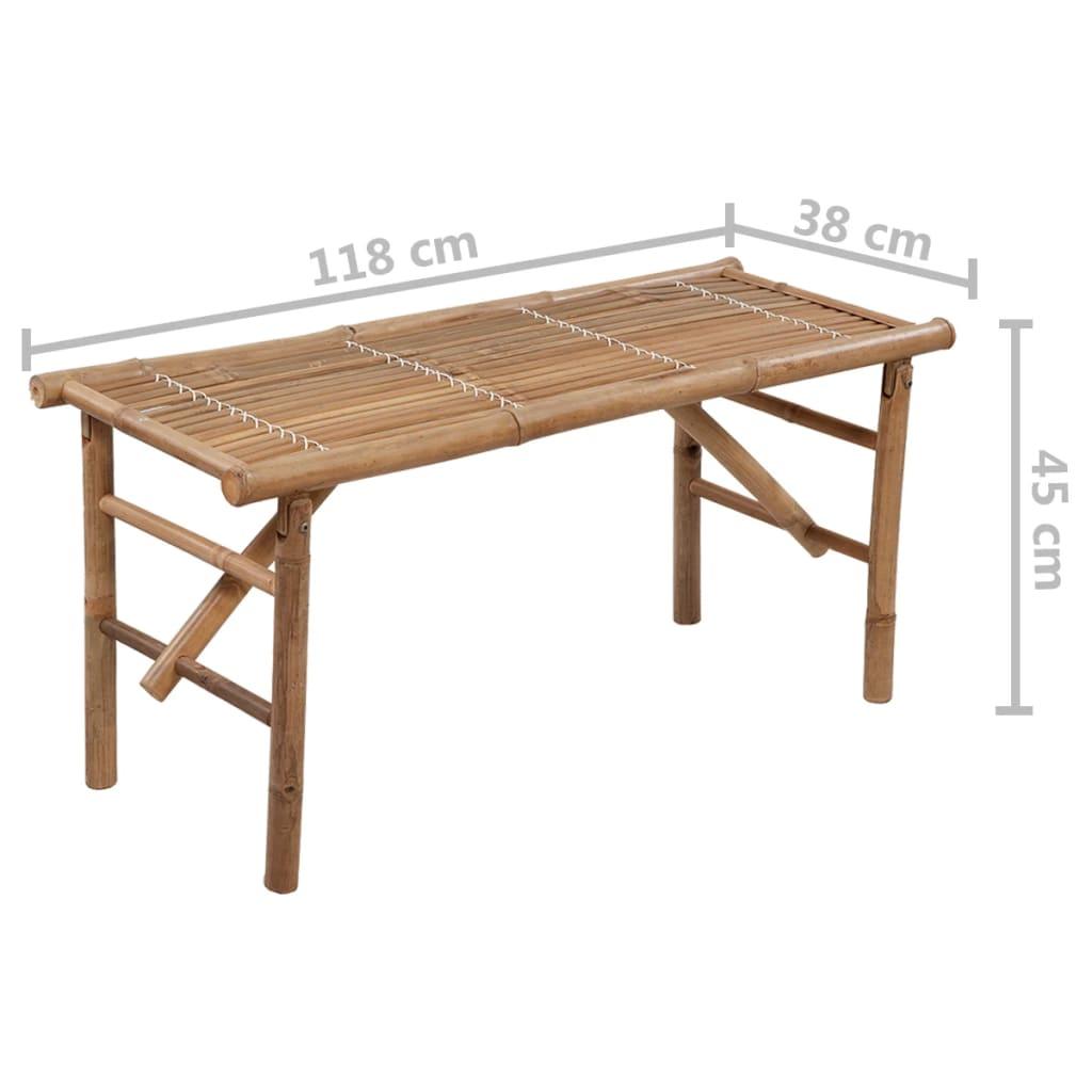 3063855 vidaXL Folding tuin bankje met sierkussen 118 cm bamboe (41.503 + 43.210)