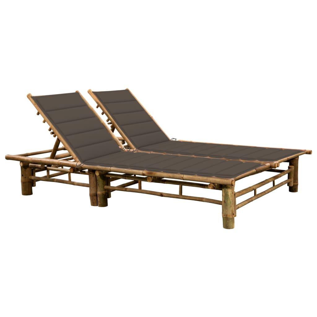 vidaXL 2-Personen-Sonnenliege mit Auflagen Bambus