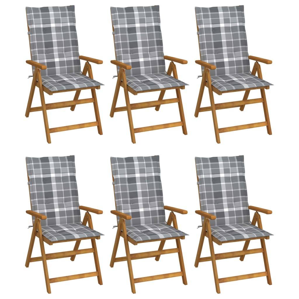 vidaXL Klappbare Gartenstühle 6 Stk. mit Auflagen Massivholz Akazie