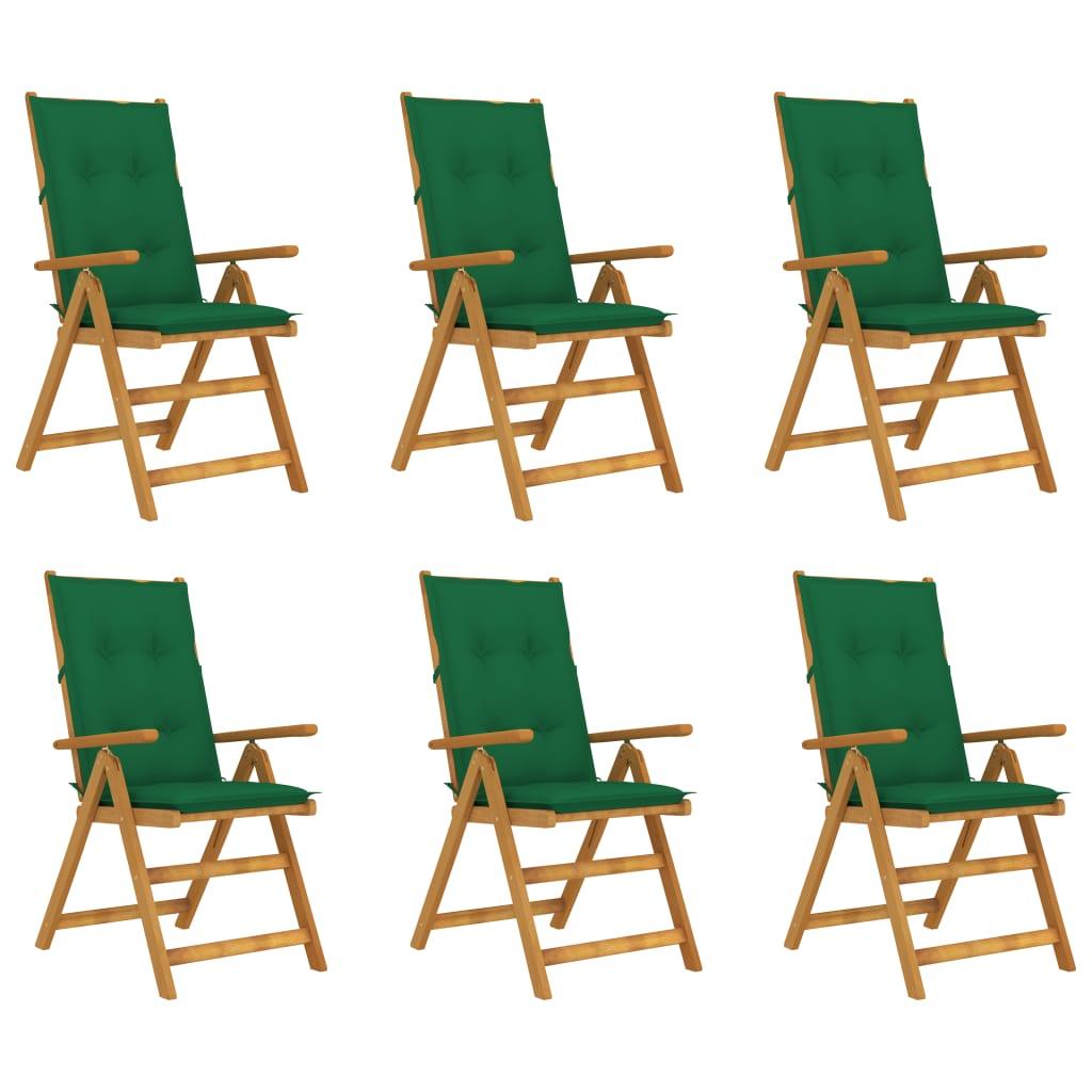 <ul><li>Polsterfarbe: Grün</li><li>Stuhl-Material: Massives Akazienholz mit Ölfinish</li><li>Kissen-Material: Stoff (100% Polyester)</li><li>Abmessungen des Stuhls: 57 x 69 x 111 cm (B x T x H)</li><li>Abmessungen der Auflage: 120 x 50 x 7 cm (B x T x H)</li><li>In 5 Positionen verstellbar</li><li>Klappbar für einfache Lagerung und Transport</li><li>Mit elastischem Band hinter der Rückenlehne</li><li>Verfügt über 2 Bänder auf beiden Seiten</li><li>Montage erforderlich: Ja</li><li><strong>Lieferung enthält:</strong></li><li>6 x Gartenstuhl mit Auflage</li></ul>