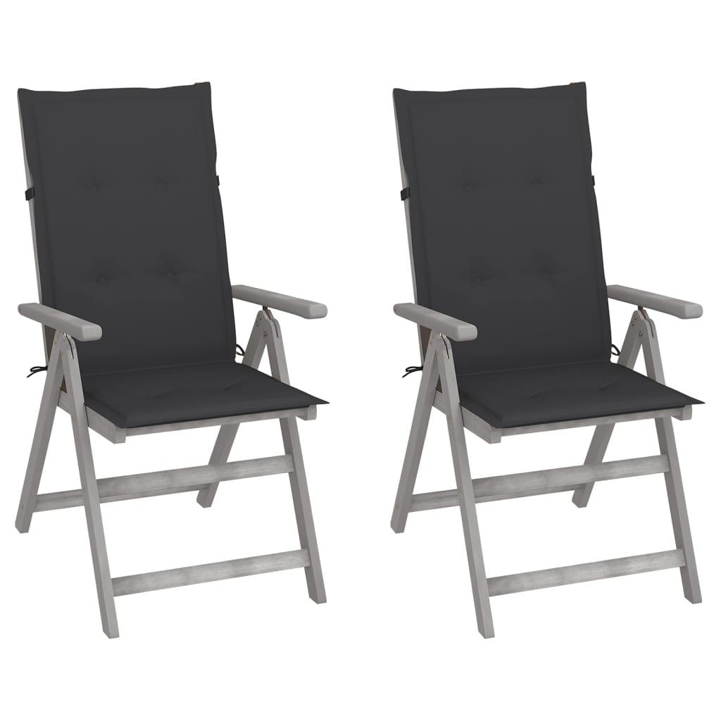 vidaXL lænestole til haven 2 stk. med hynder massivt akacietræ