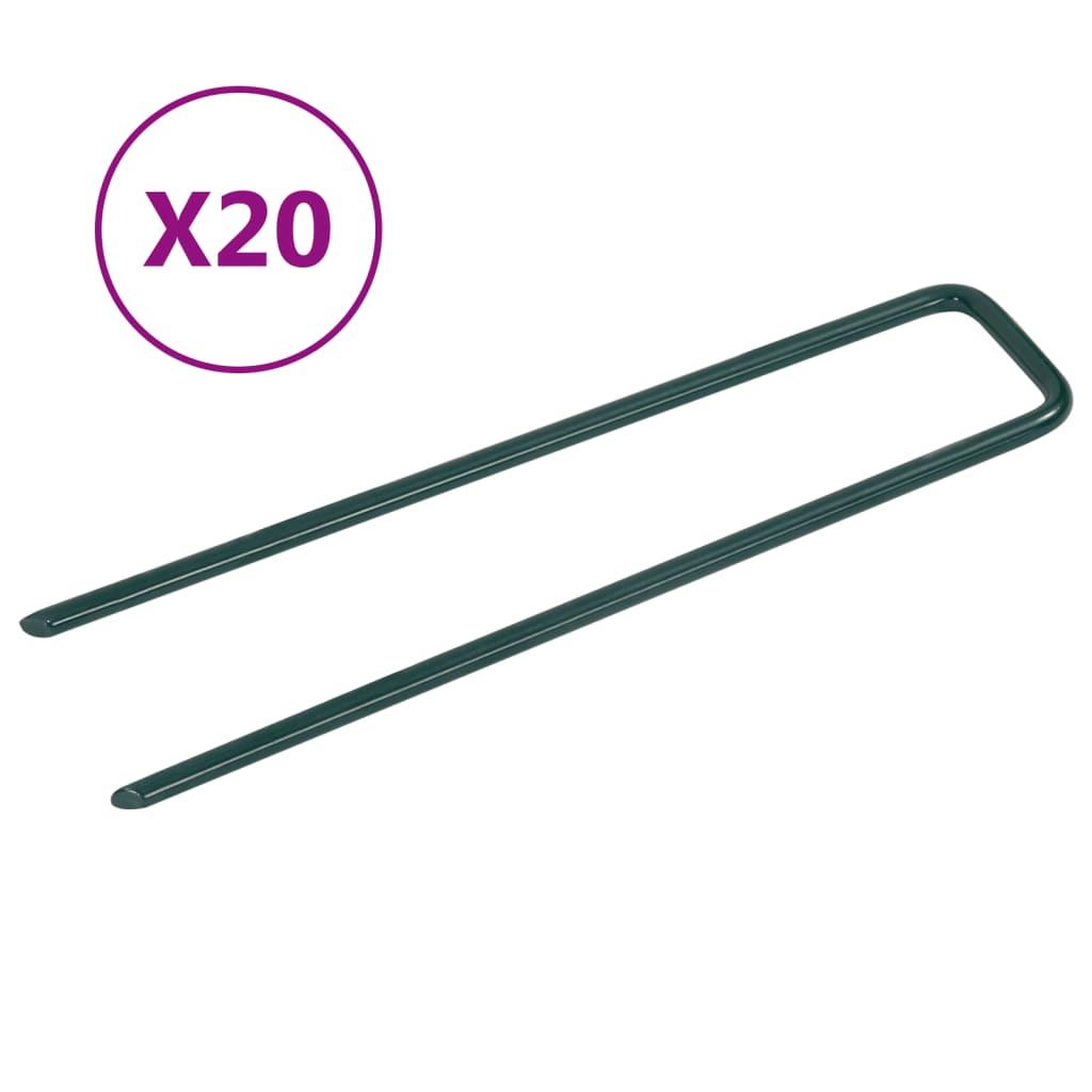 vidaXL Hřebíky do umělé trávy ve tvaru U 20 ks železo