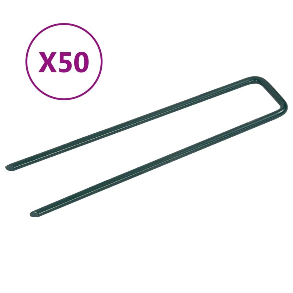 vidaXL Hřebíky do umělé trávy ve tvaru U 50 ks železo