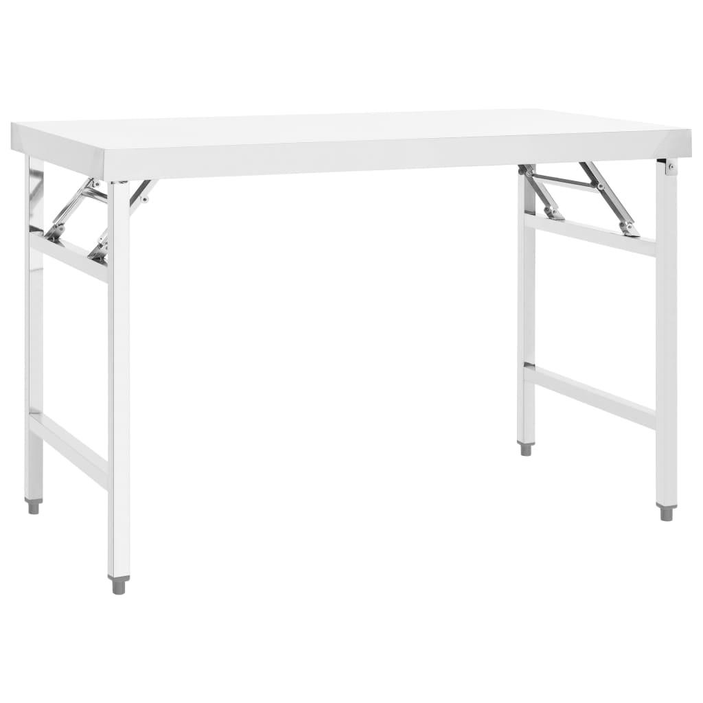 Kuchyňský skládací pracovní stůl 120 x 60 x 80 cm nerezová ocel