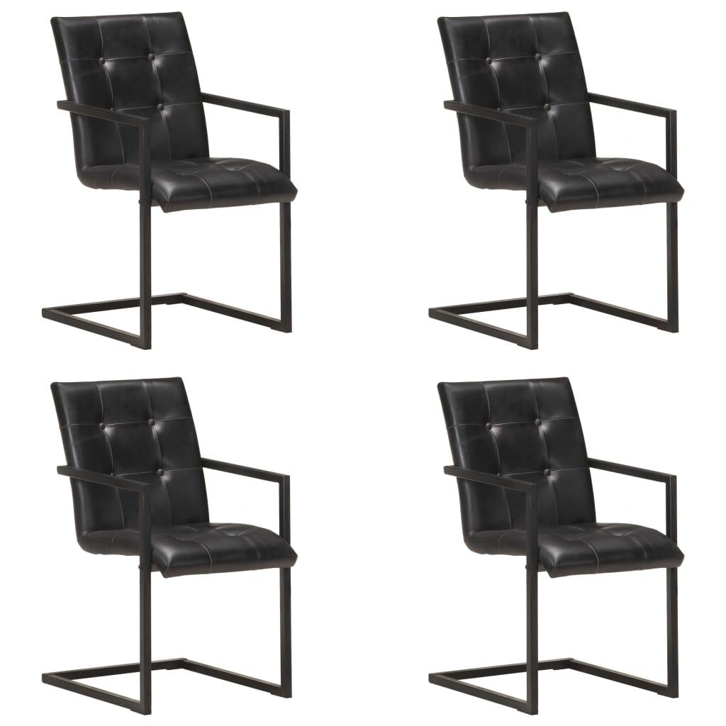 vidaXL spisebordsstole med cantilever 4 stk. ægte læder sort