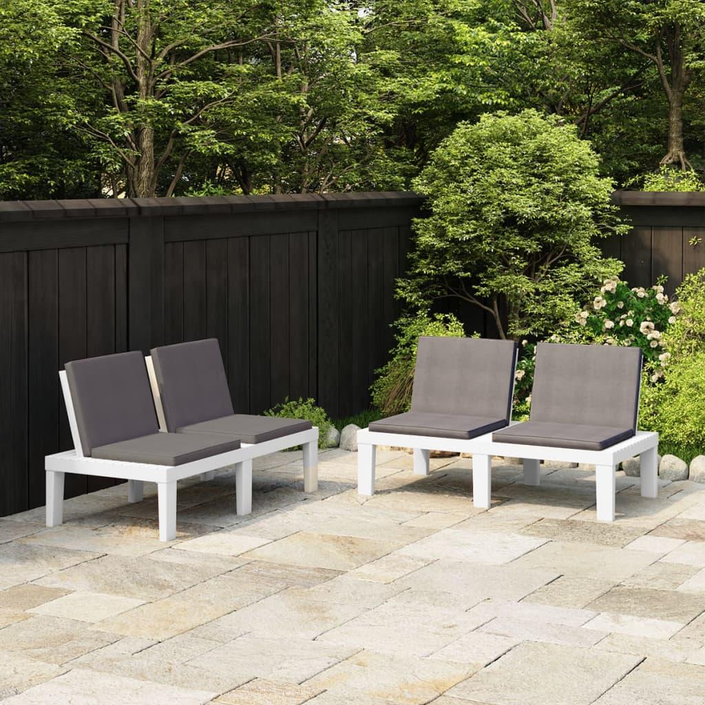 vidaXL Zahradní lavičky s poduškami 2 ks plast bílé