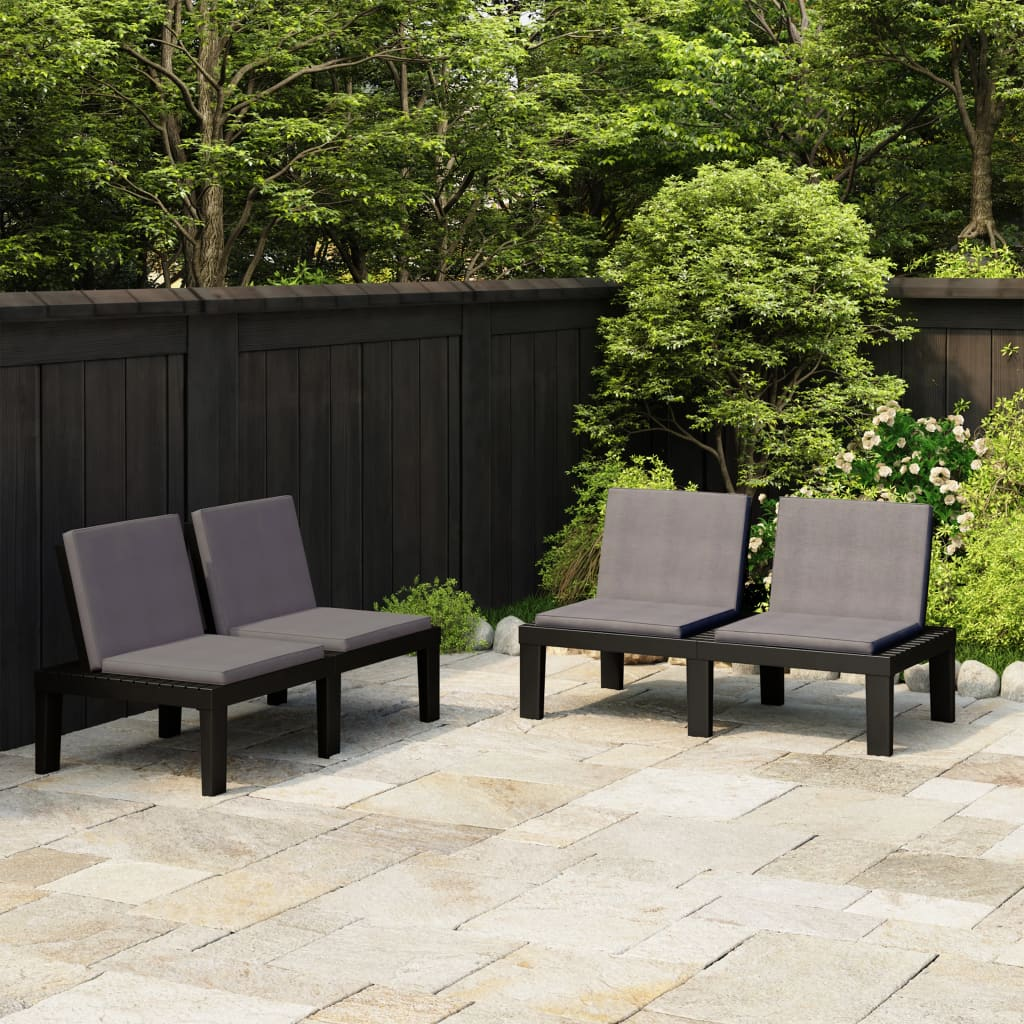 vidaXL Zahradní lavičky s poduškami 2 ks plast šedé