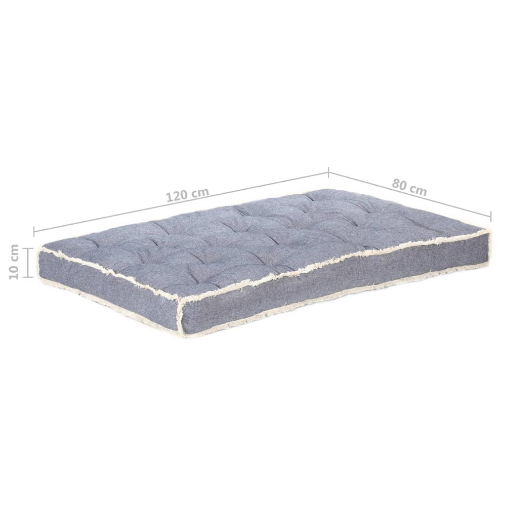 vidaXL Bankkussen pallet 120x80x10 cm blauw
