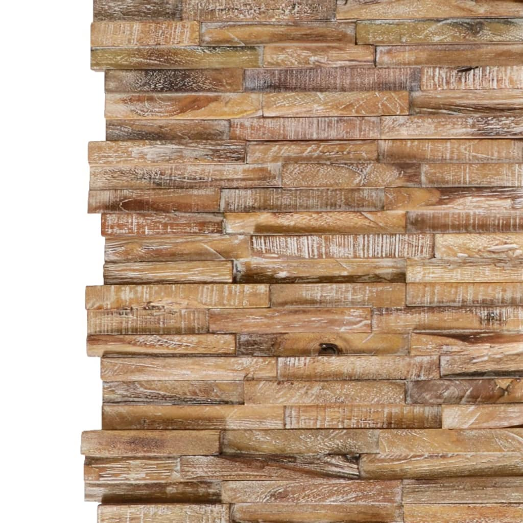 10 st Wandbekledingspanelen 3D 1,01 m² massief teakhout