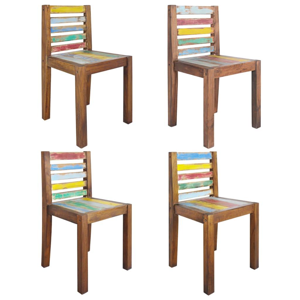 vidaXL Blagovaonske stolice 4 kom od masivnog obnovljenog drva