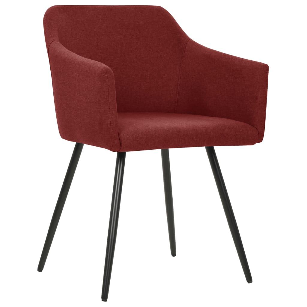 vidaXL Eetkamerstoelen 4 st stof wijnrood