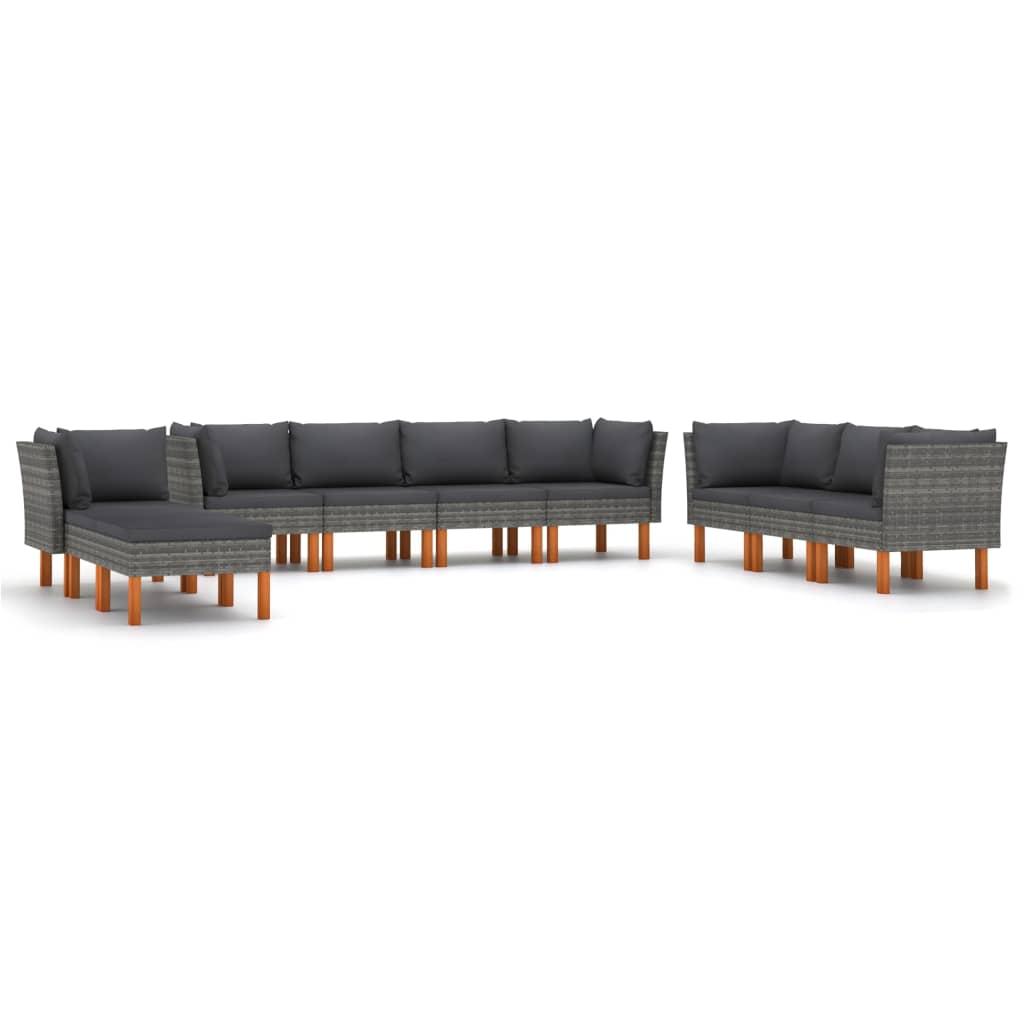 10-tlg. Garten-Lounge-Set mit Kissen Poly Rattan Grau