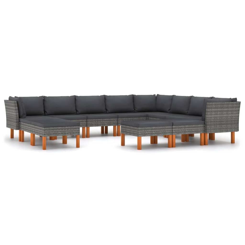 vidaXL 12-tlg. Garten-Lounge-Set mit Kissen Poly Rattan Grau