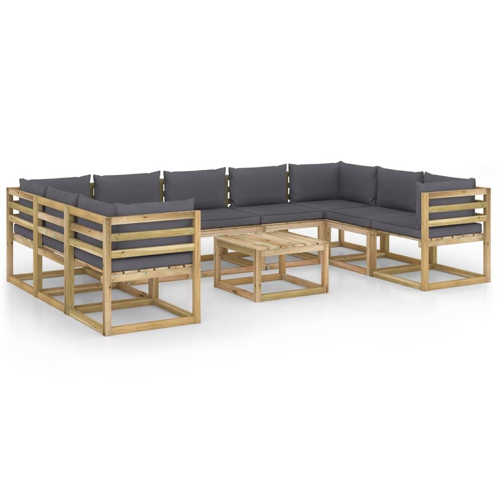 10-delige Loungeset met kussens geïmpregneerd grenenhout