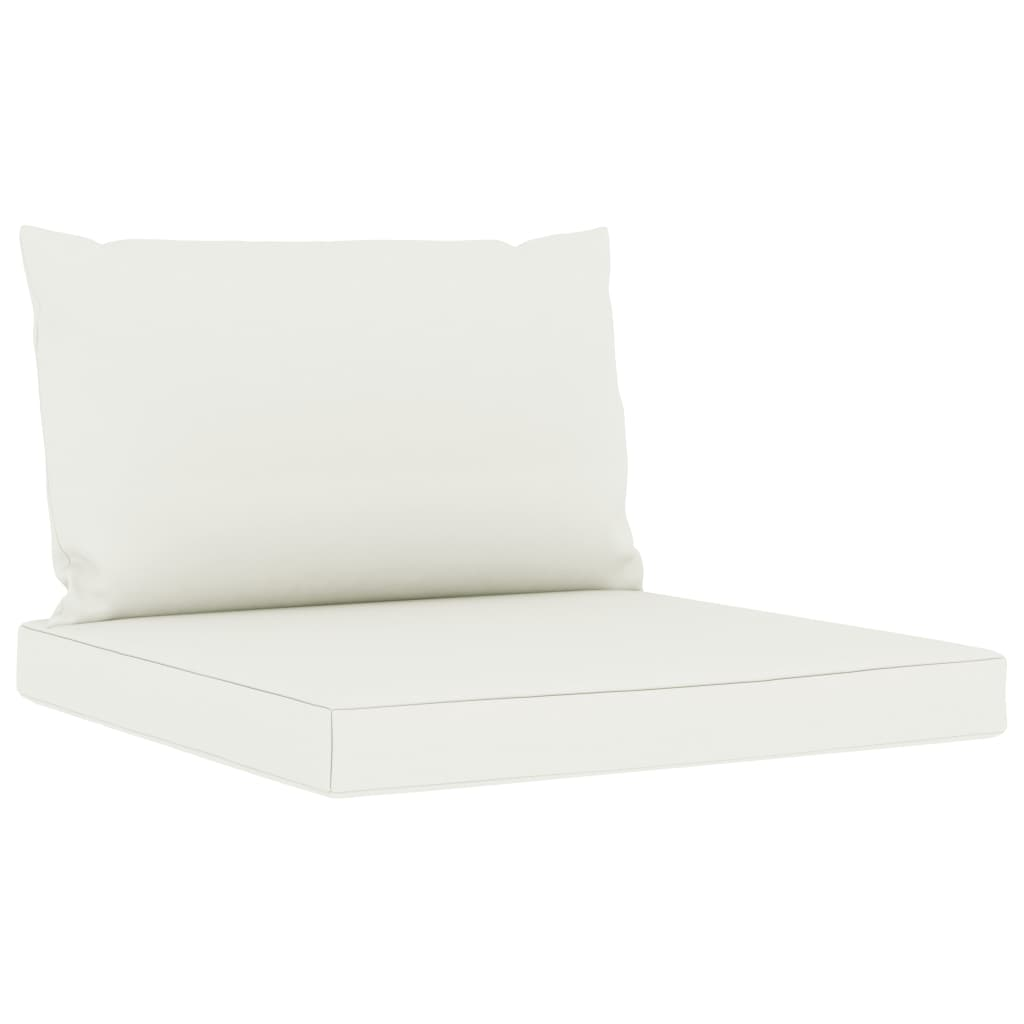 vidaXL Tuinbank 3-zits met crèmekleurige kussens