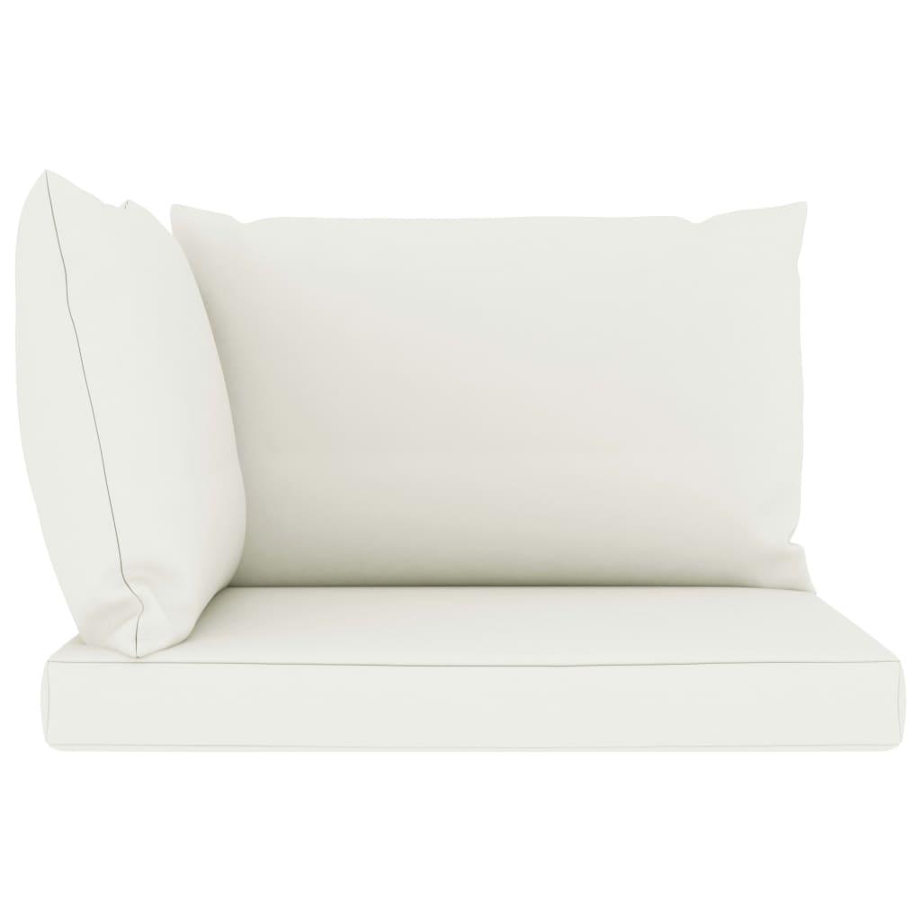 vidaXL 5-delige Loungeset met crèmekleurige kussens